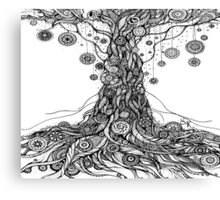 Mandalas Tree.Hand draw  ink and pen on textured paper Canvas Print