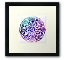Mandala#4.Hand draw  ink and pen, Watercolor, on textured paper Framed Print