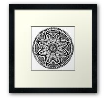 Black and White MANDALA. Hand draw  ink and pen on textured paper Framed Print
