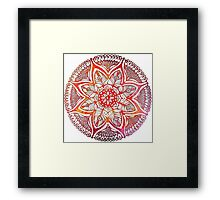Mandala#3. Hand draw  ink and pen on textured paper Framed Print