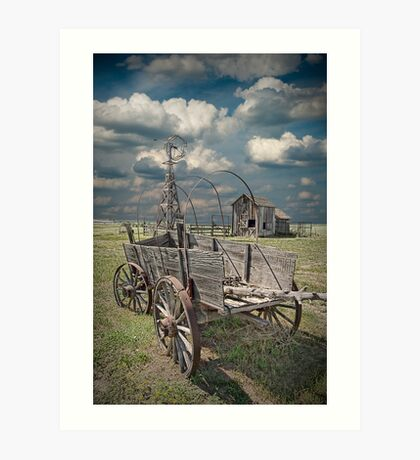 Frontier Covered Wagon on the Farm Art Print