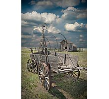 Frontier Covered Wagon on the Farm Photographic Print