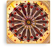 Orange mandala.Hand draw  ink and pen, Watercolor, on textured paper Canvas Print
