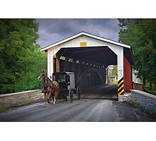 Amish Buggy and a Covered Bridge Photographic Print