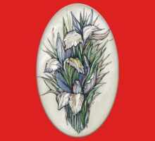 Beautiful iris - Hand draw  ink and pen, Watercolor, on textured paper One Piece - Long Sleeve