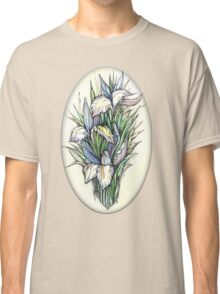 Beautiful iris - Hand draw  ink and pen, Watercolor, on textured paper Classic T-Shirt