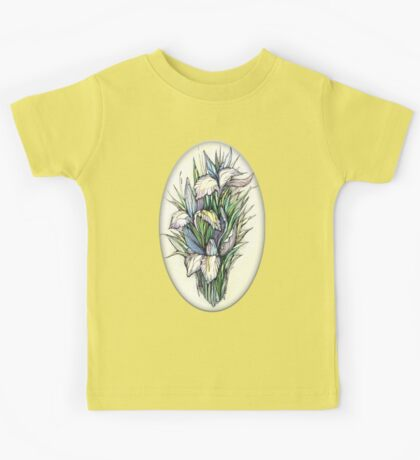 Beautiful iris - Hand draw  ink and pen, Watercolor, on textured paper Kids Tee