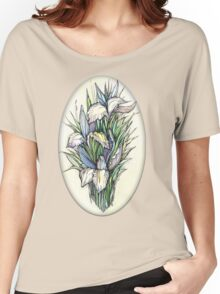 Beautiful iris - Hand draw  ink and pen, Watercolor, on textured paper Women's Relaxed Fit T-Shirt
