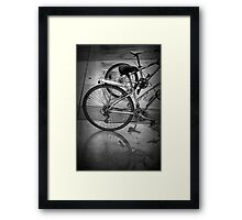 Black & White Photo of Bicycles in the Rain Framed Print