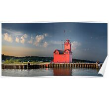 Big Red, the Lighthouse at Ottawa Beach at Sunrise Poster