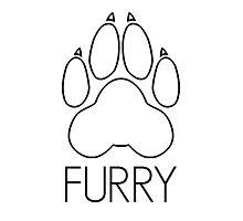 Furry - pawprint black text- Photographic Print