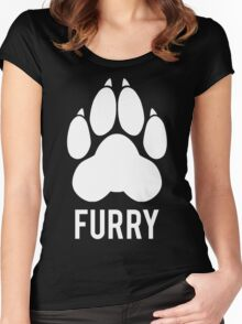 FURRY pawprint -white- Women's Fitted Scoop T-Shirt