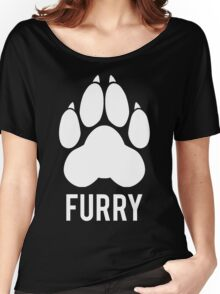 FURRY pawprint -white- Women's Relaxed Fit T-Shirt