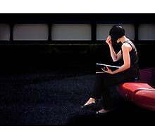 girl on a red seat Photographic Print