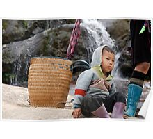 Kid sitting on a rock Poster
