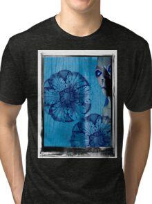 Blue Flower Alien Extraterrestrial Tri-blend T-Shirt