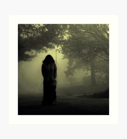 She approaches from the fog... Art Print