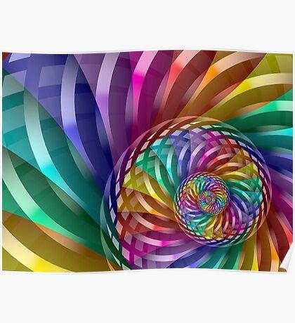 Metallic Spiral Rainbow Poster