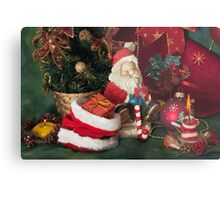 Santa Claus and Christmas candle Metal Print