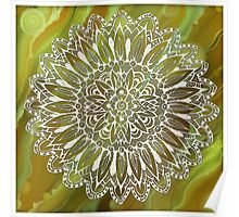 Mandala on the Green  Abstract background Poster
