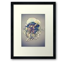 Сelestial fantasy.Hand draw  ink and pen, Watercolor, on textured paper Framed Print