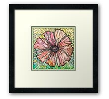 Red Poppy.Hand draw  ink and pen, Watercolor, on textured paper Framed Print