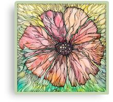 Red Poppy.Hand draw  ink and pen, Watercolor, on textured paper Canvas Print