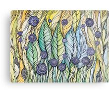 Dandelions.Hand draw  ink and pen, Watercolor, on textured paper Metal Print