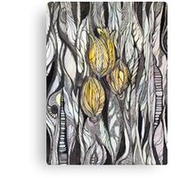 Tulip.Hand draw  ink and pen, Watercolor, on textured paper Canvas Print