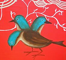 Blue birds in the Red by Orana