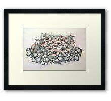 Poppies.Hand draw  ink and pen, Watercolor, on textured paper Framed Print