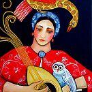 The Owl, Mandolin and Lady Fee in a coloured sea by Orana