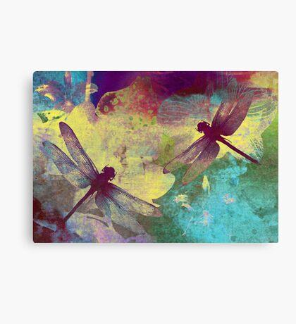 Painting Dragonflies & Orchids. Canvas Print