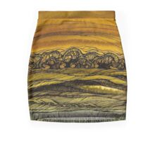 Fall.Hand draw  ink and pen, Watercolor, on textured paper Mini Skirt