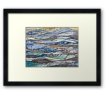 Ocean my fantasies.Hand draw  ink and pen, Watercolor, on textured paper Framed Print