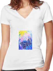 Cosmic Butterfly Women's Fitted V-Neck T-Shirt