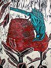 """Blue Bird Woodcut by Belinda """"BillyLee"""" NYE (Printmaker)"""