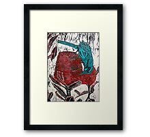 Blue Bird Woodcut Framed Print