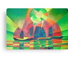 Sea of Green With Cubist Abstract Junks Canvas Print