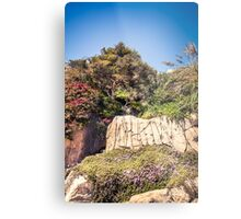 Rocky cliffs coast with green trees and  ivy flowers Metal Print