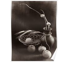 Still life with apples and garlic Poster