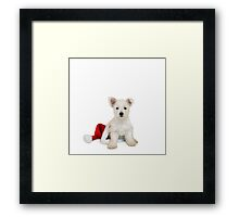Westie Pup and Santa Hat Framed Print