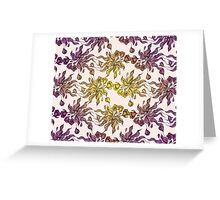 purple and yelow floral seamless pattern with hand drawn flowering crocus Greeting Card