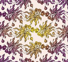 purple and yelow floral seamless pattern with hand drawn flowering crocus by Sviatlana Kandybovich