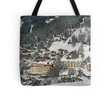 Swiss Winter Village Scene Tote Bag
