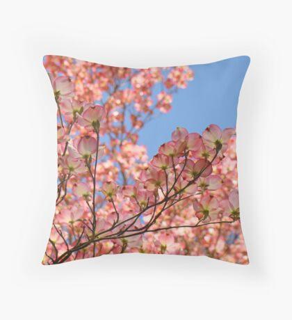 Trees art Pink Dogwood Tree Flowers Blue Sky Baslee Troutman Throw Pillow