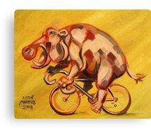 Hippo On A Bicycle 2 Canvas Print