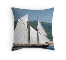 Bluenose II Sail into Gloucester Harbor Throw Pillow