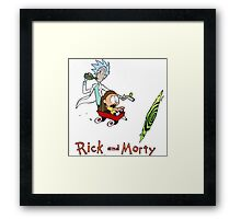 Rick and Morty Calvin and Hobbes Framed Print