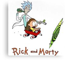Rick and Morty Calvin and Hobbes Canvas Print